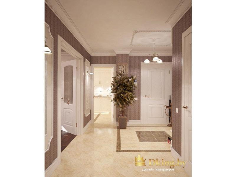 светлые двери на фоне классических бежевых обоев в узкую полоску и глянцевого пола, выполненного из плитки под мрамор