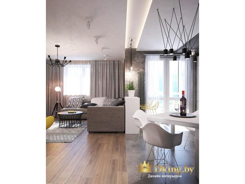 кухня и гостиная зона резделены визуально с помощью напольного покрытия (ламинат и плитка), барной стойки и функциональной ниши в потолке, в которую вмонтированы светильники