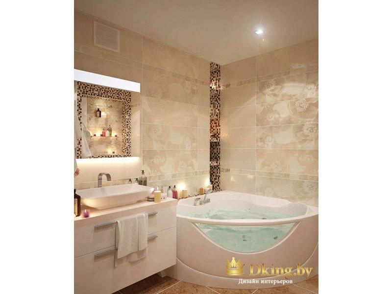 угловая ванна, акцентный угол выложен мозаикой