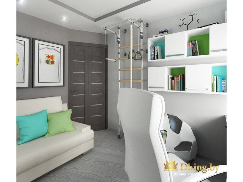 детская для мальчика-подростка: серые стены, белые подвесные полки открытые чередуются с закрытыми. диван и компьютерный стул кожаные белые