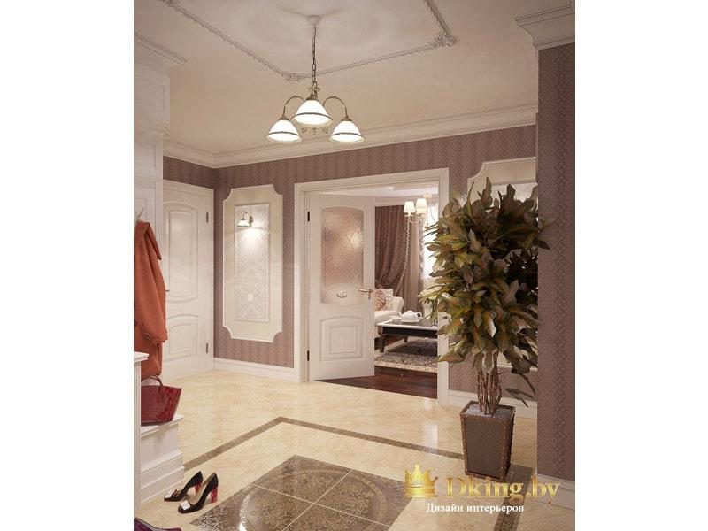 вид из прихожей на белые распашные двери в гостиной. На полу бежевая глянцевая плитка, на стенах бежевые обои в полоску, плинтус белый