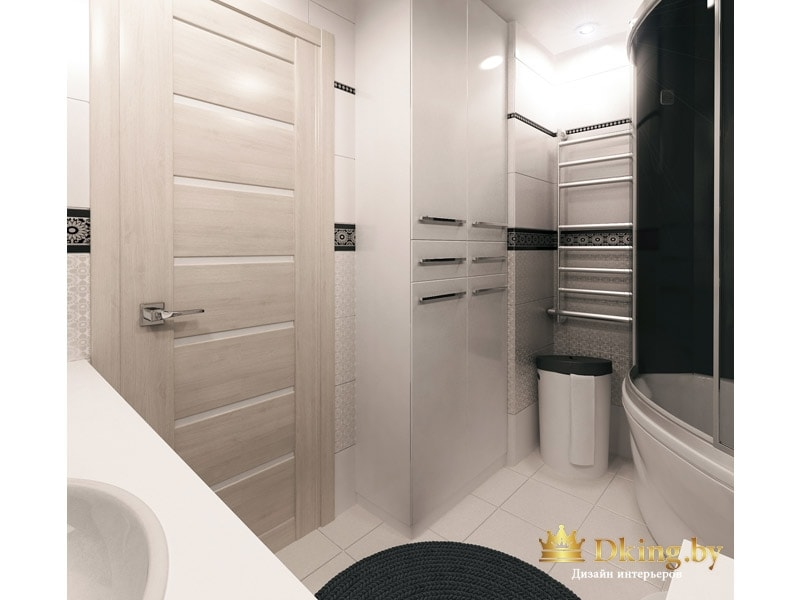 белая ванная комната: пол и стены белые, черный коврик и душевая кабина с черными дверями