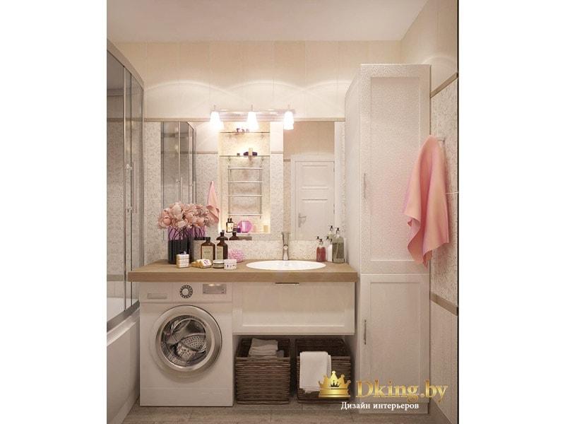 рациональное использование места в ванной: возле зеркала расположен высокий белый шкаф-пенал. умывальник встроен в столешницу, под столешницей - выдвижная полка, стиральная машинка, выдвижной ящик и корзина для белья