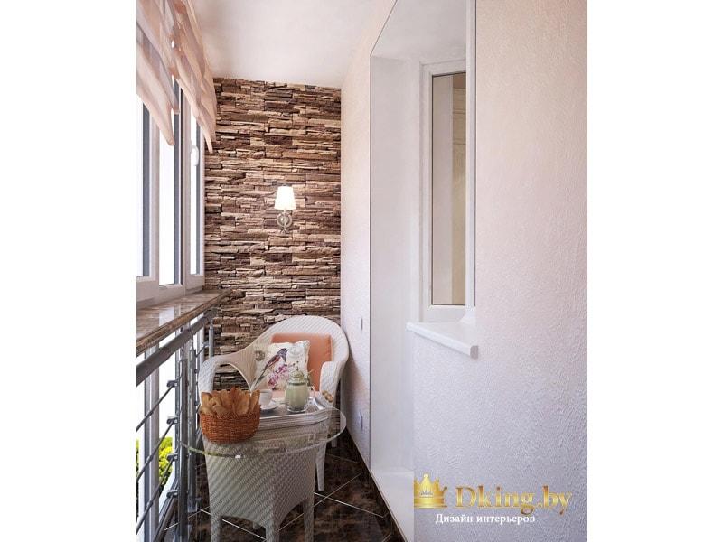 утепленный балкон с классическим белым креслом, стеклянным столиком и небольшим подоконником из искусственного камня