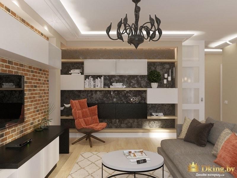 Просторная гостиная комната: интерьер выполнен в сборном стиле