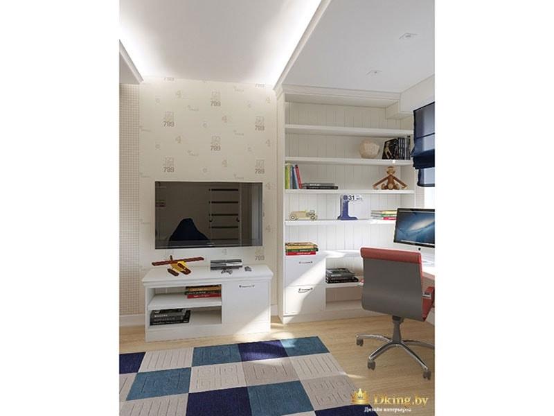 Интерьер детской комнаты с деревянными полами и книжным шкафом