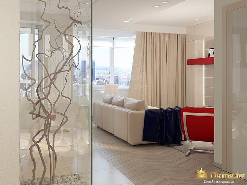 Интерьер гостиной комнаты - вид из прихожей