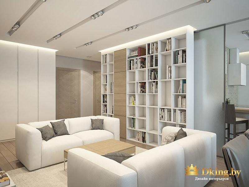 Книжный шкаф и диваны в гостиной