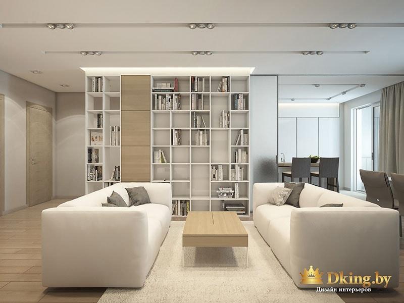 Стол, белые диваны и книжный шкаф в интерьере