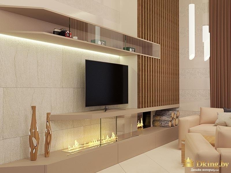Вид интерьера гостиной: телевизор, стенка, мебель