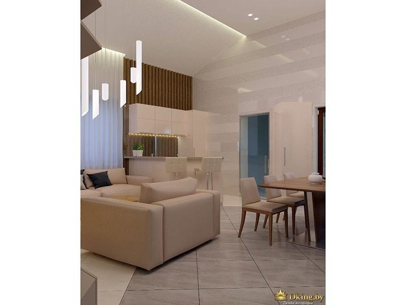 Вид мебели и обеденной группы в комнате
