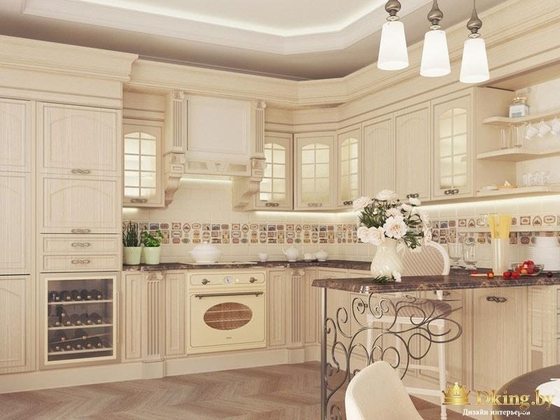 Общий вид интерьера кухни
