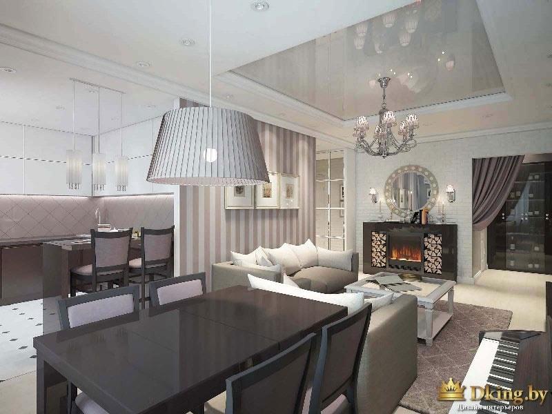 Интерьер гостиной: шикарные люстры, черны стол и стулья