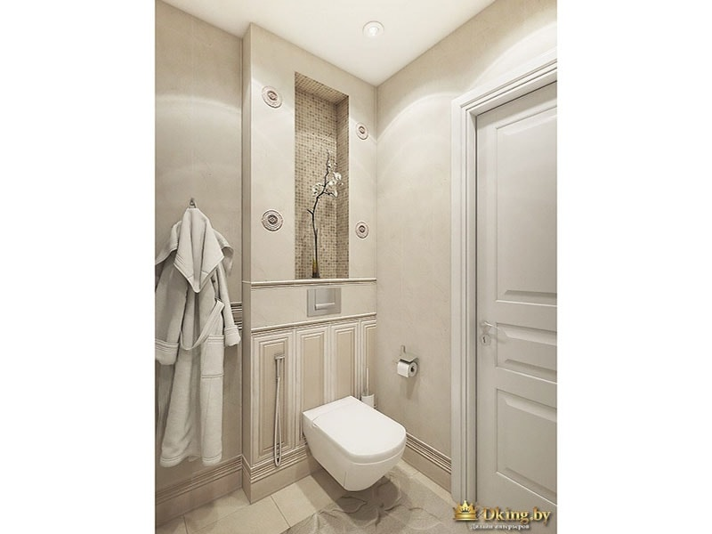 Вид на вход в санузел: унитаз, белая входная дверь