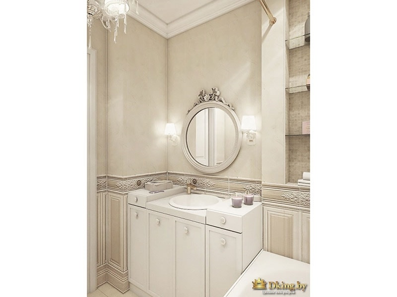 Круглое зеркало и шкафчики во второй ванной