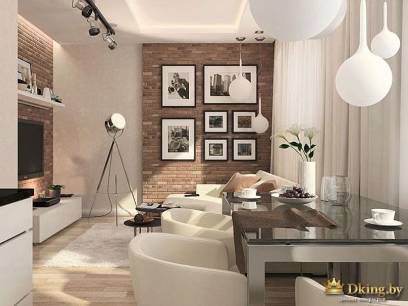 Дизайн интерьера выполнен в светлых тонах, преимущественно - белый и оттенки бежевого