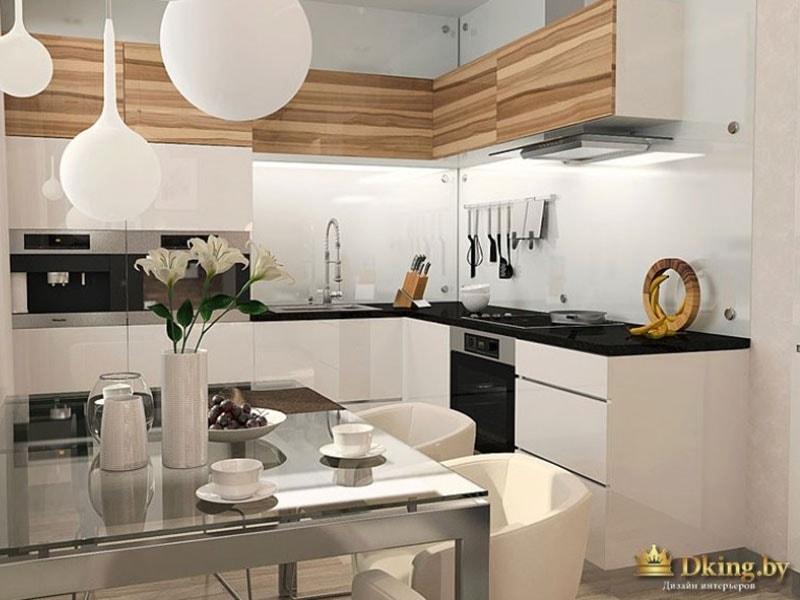 Кухня: обеденная зона, шароподобные люстры, черно-бела плита