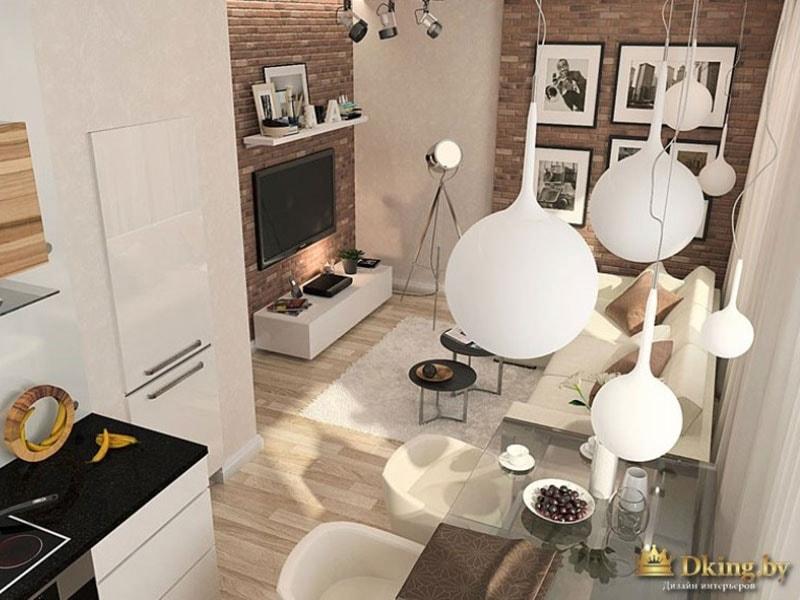 Светильники в виде шаров - над гостиной и кухне, которые не разделены перегородкой