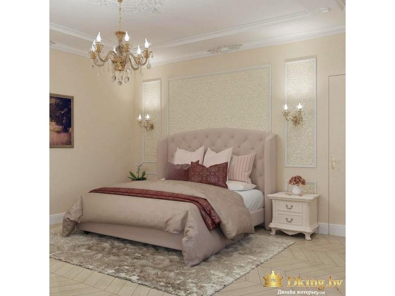 Светлая кровать с изголовьем