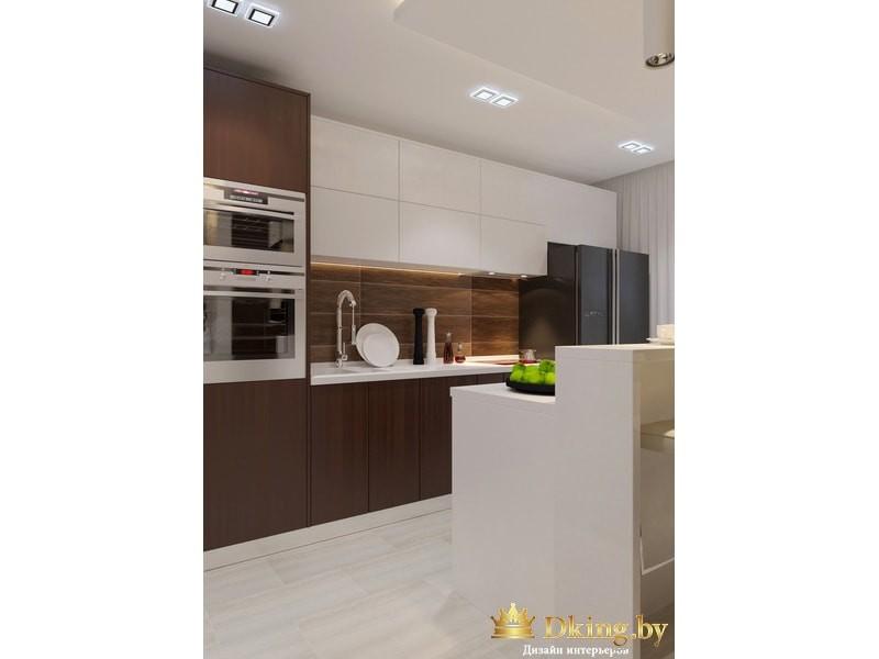 Светлая кухня с деревянными элементами