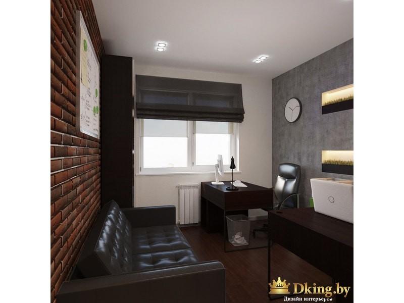 Комната с черным кожаным диваном