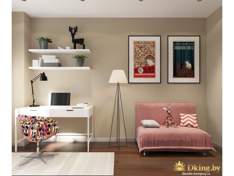 Розовый диван в комнате