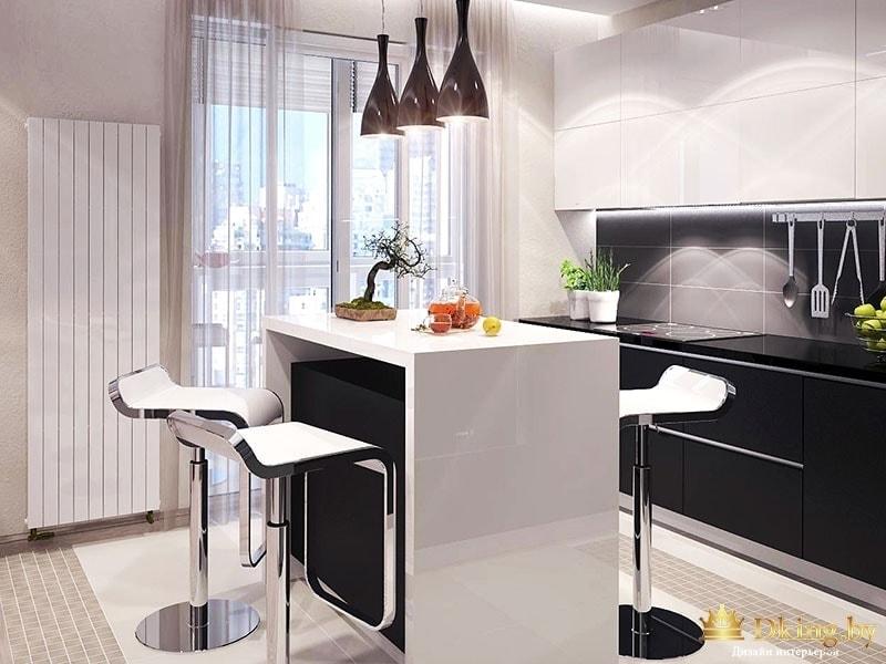 Кухня с двумя барными стульями
