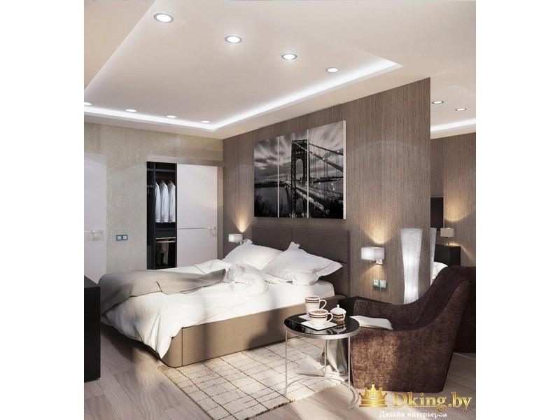 Спальня с деревянной перегородкой