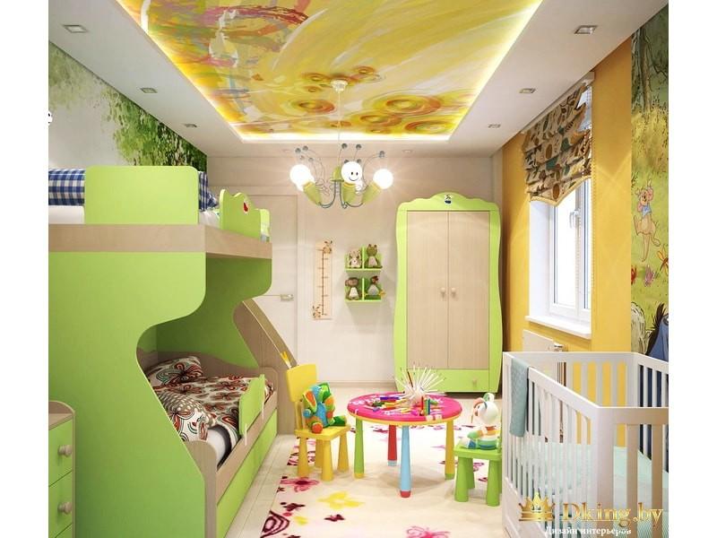 Детская комната с ярким потолком