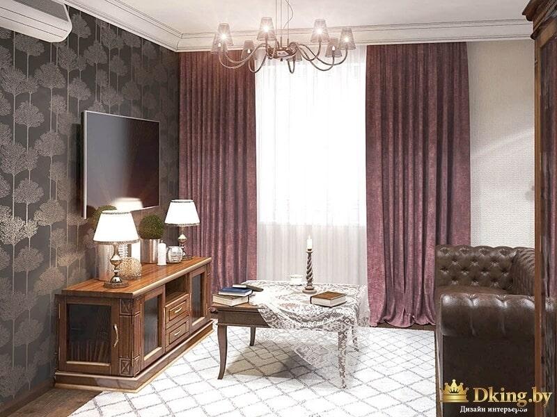 Комната с кожаным диваном
