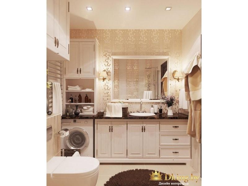 Полки в ванной комнате с зеркалом