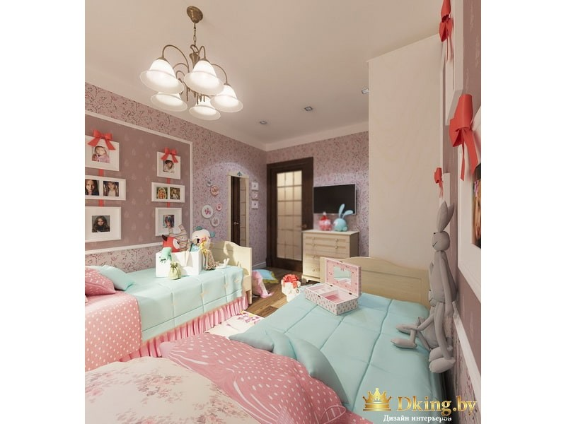 Голубые кровати в детской комнате
