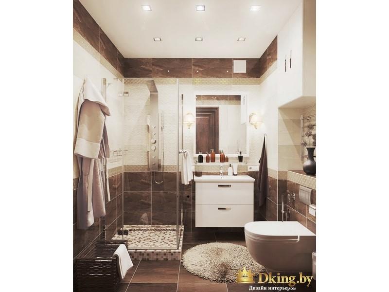Ванная комната с бело-коричневой плиткой