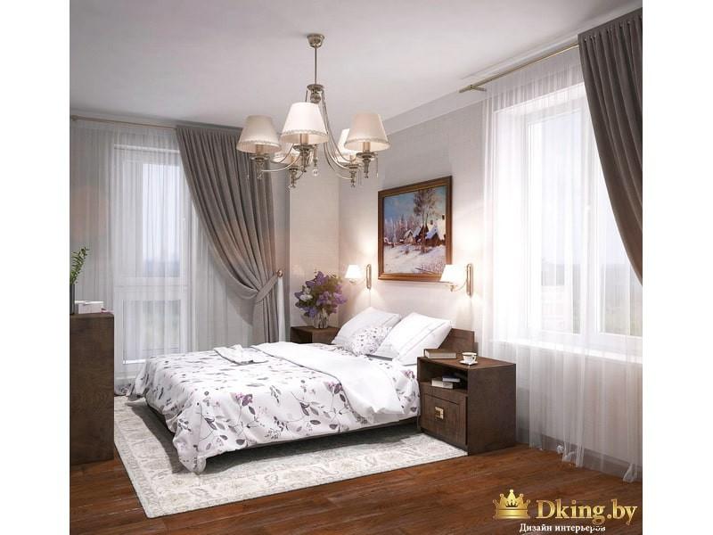 Двухспальная кровать в большой комнате