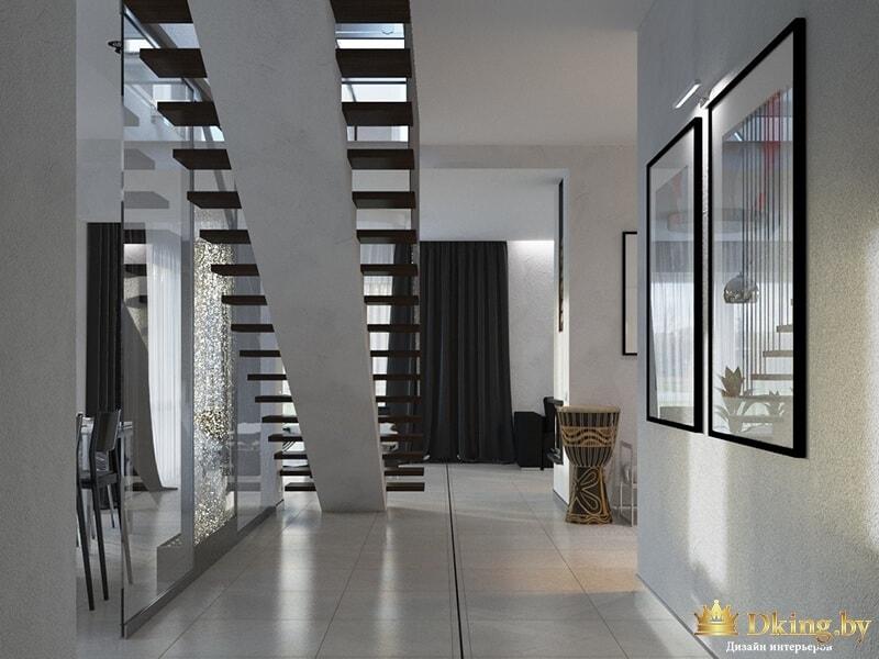 Лестница в светлой прихожей