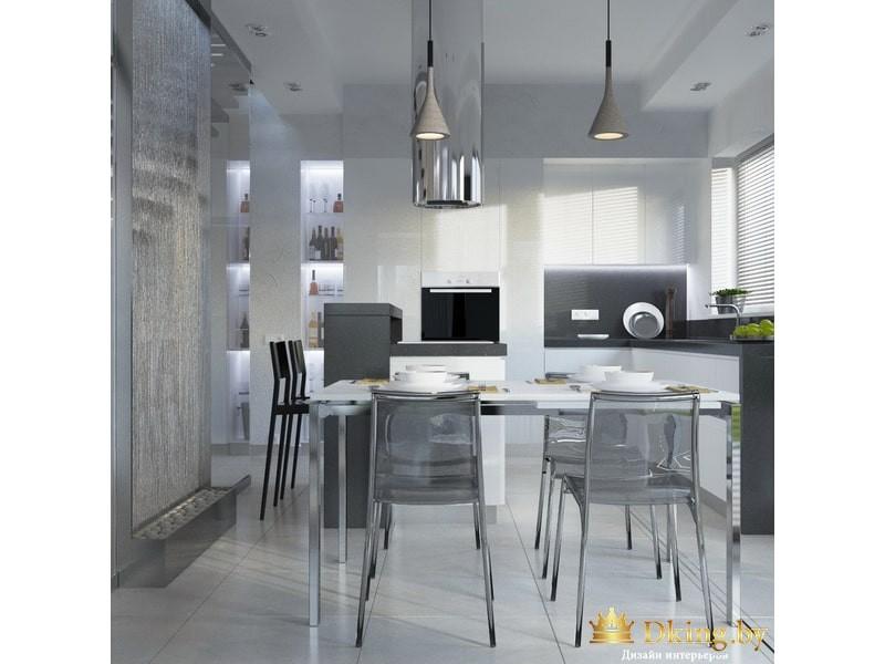 Просторная кухня в стиле минимализма