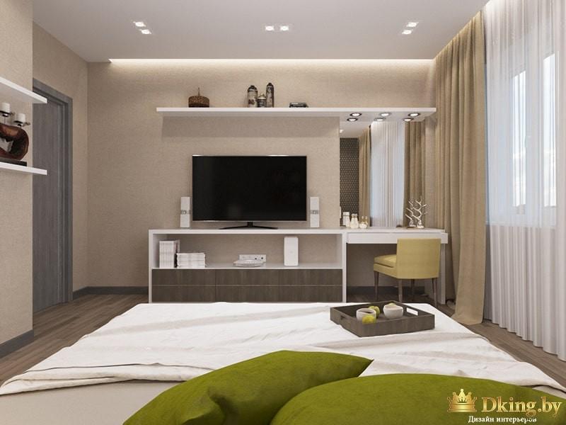Комната с телевизором и кроватью