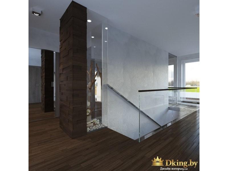 Лестница на второй этаж с дизайнерской композицией