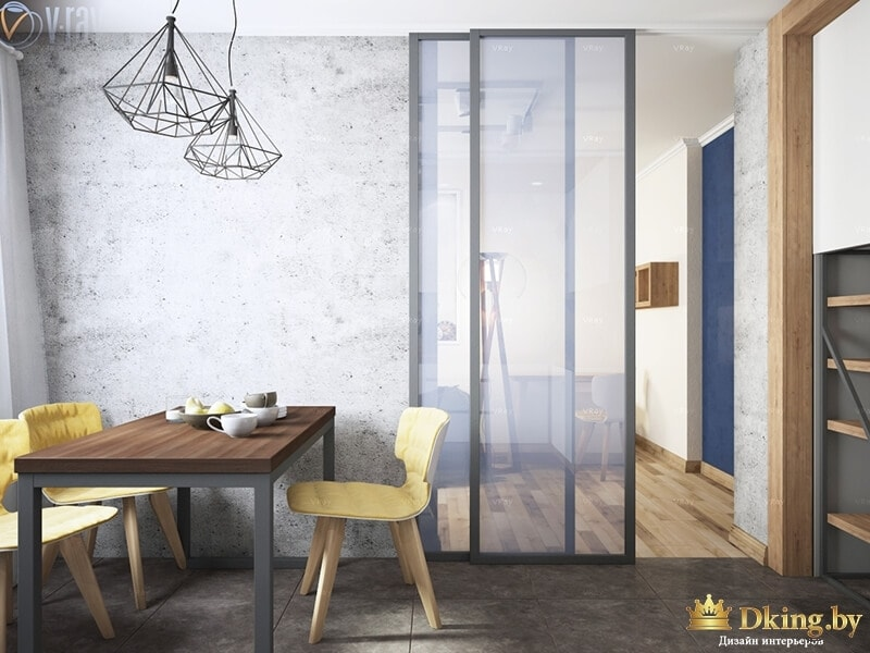 Кухня со стеклянной дверью