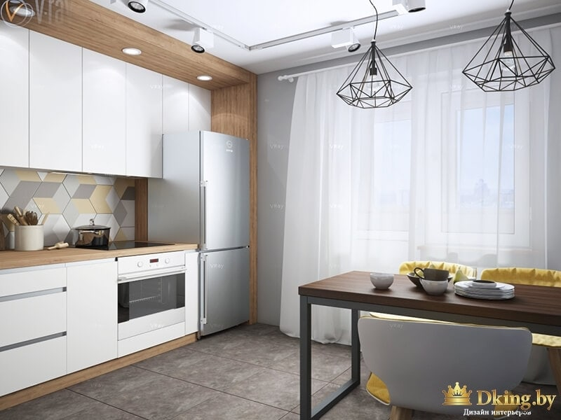 Кухня с каркасными люстрами и столом