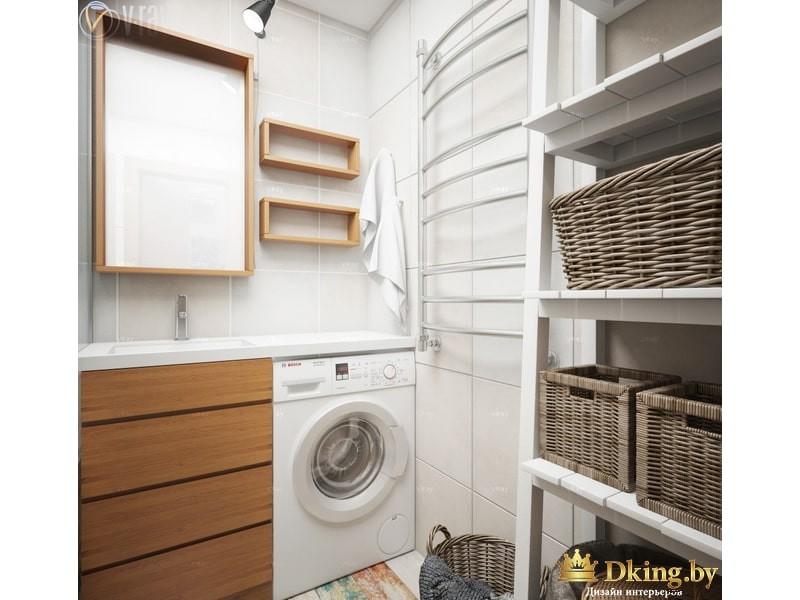 Белые полки в ванной комнате