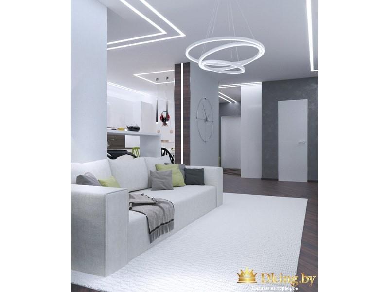 Диван и необычный светильник в минимализме