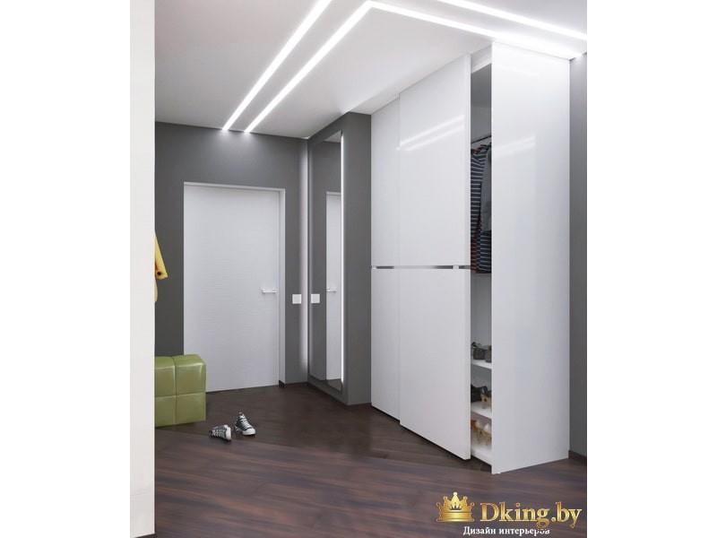 Светло-серый интерьер с подсветкой потолка