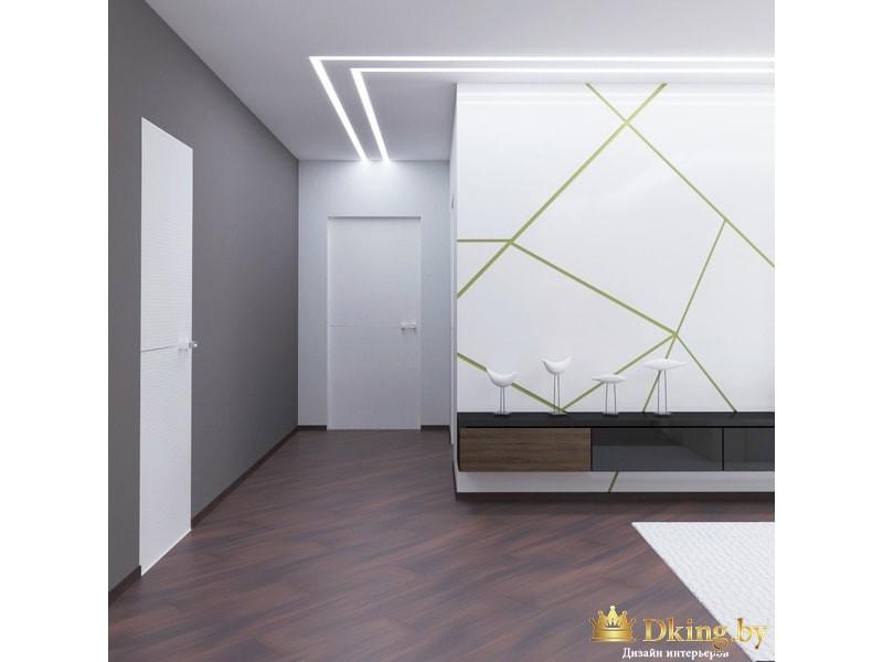 Светлая гостиная с подсветкой потолка