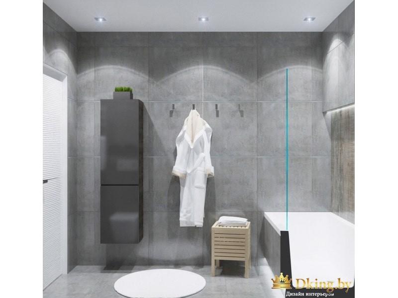 Светло-серая ванная в стиле минимализм