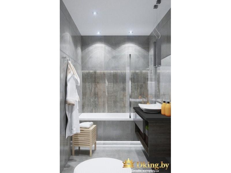 Светлая ванная с черным умывальником