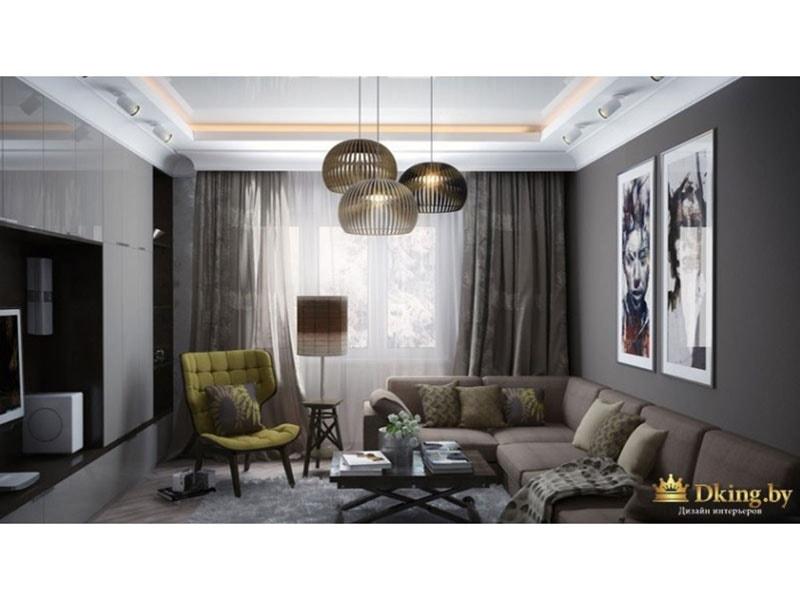 Небольшая гостиная комната: мягкий уголок, ниша для телевизора, темные обои