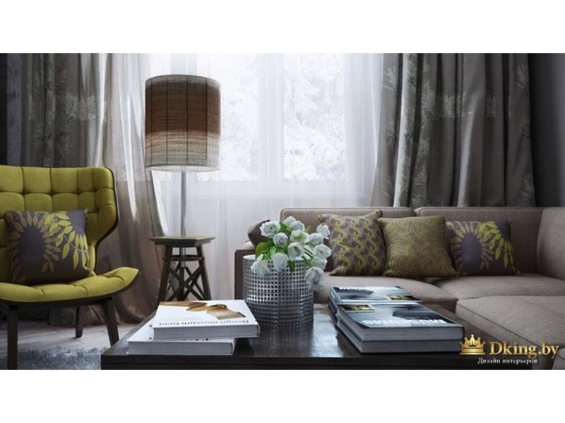 Интерьер гостиной выдержан в том же стиле, что и вся квартира