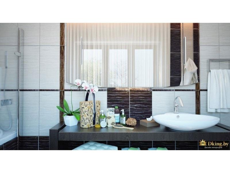 туалетная комната: вид на умывальник с большой столешницей