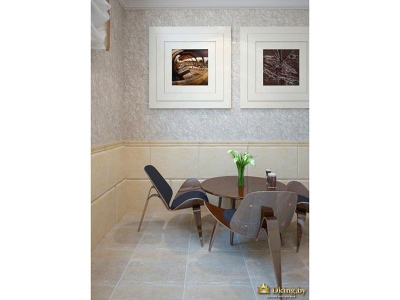 зона отдыха: журнальный столик, 3 стула необычной формы